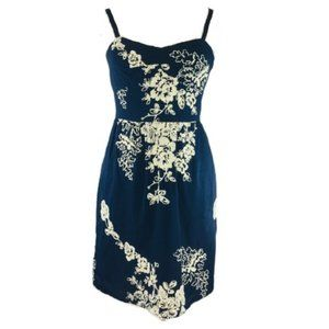J.Crew Mirabel Lawn Dress Embroidered Navy